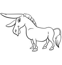 cartoon donkey farm animal coloring book page vector image