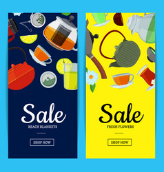 cartoon tea kettles and cups banner vector image