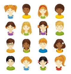 children faces set set of vector image