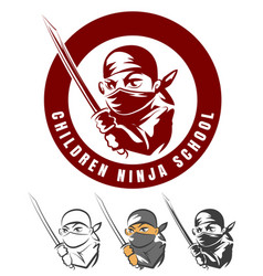 Children ninja school cartoon emblem vector