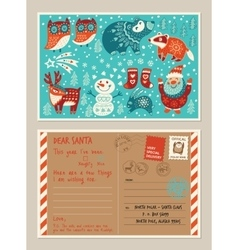 Christmas holiday post card and envelope with cute vector