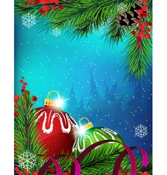 Christmas ornaments with ribbon on blue background vector image
