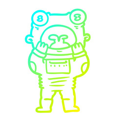 Cold gradient line drawing cartoon alien gasping vector