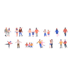 Collection tiny skating people vector