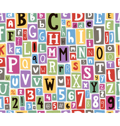 colorful alphabet letters made newspaper vector image