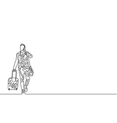 continuous one line man with traveling bag and vector image