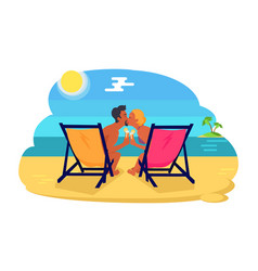 couple kissing by seaside vector image