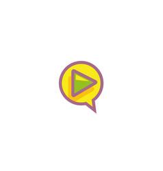 creative circle play symbol logo vector image