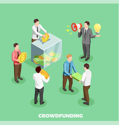crowdfunding isometric composition vector image