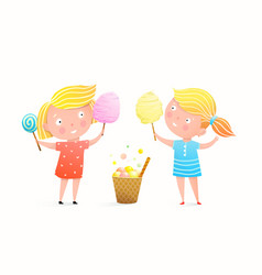 Cute little girls eating cotton candy ice cream vector