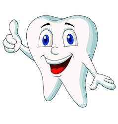 Cute tooth cartoon thumb up vector image