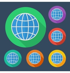 Earth globe icon with long shadow - six colors vector image