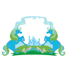 Fairytale frame with magic castle and unicorns vector