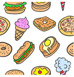 Fast food set of doodle style vector