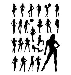 female detail silhouette vector image