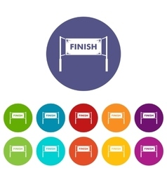 Finish line gates set icons vector image