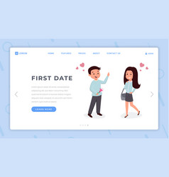 First date landing page flat template young love vector