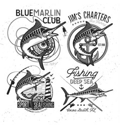 fishing logo blue marlin or swordfish icon vector image vector image