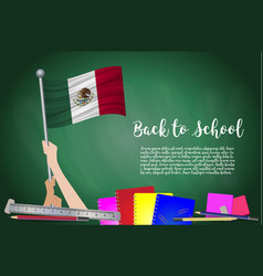 flag of mexico on black chalkboard background vector image