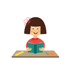 flat girl kid studying reading book vector image
