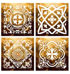 floral gold mosaic tile vintage triangle vector image
