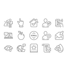Friends chat scroll down and recycle water icons vector