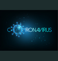 futuristic coronavirus covid-19 inscription web vector image