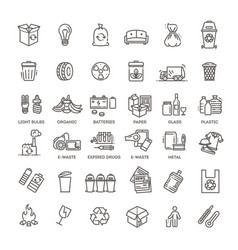 garbage line icons set vector image