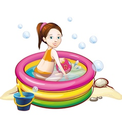 Girl in pool vector