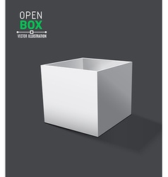 Grey open box with realistic shadows on dark vector
