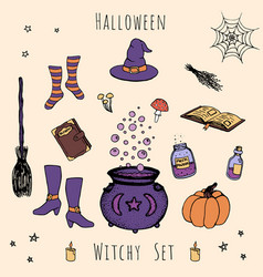 hand drawn halloween cauldron broom vector image
