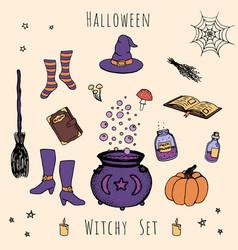 Hand drawn halloween of hat cauldron broom vector