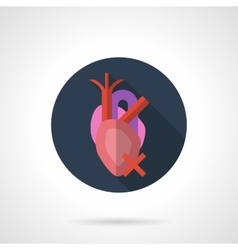 Heart disease round flat color icon vector