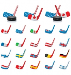 hockey sticks with flags vector image