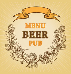 icon with branches of hops and ribbon vector image