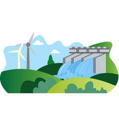Illutration windmill and hydroelectric energy vector