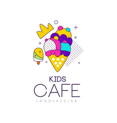 Kids cafe logo design bright badge with ice cream vector