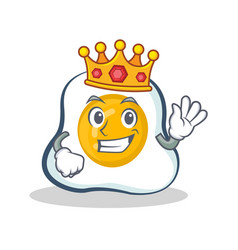 King fried egg character cartoon vector