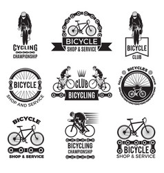 labels set for bicycle club velo sport logos vector image