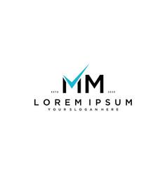 Letter mm checklist logo design concept vector