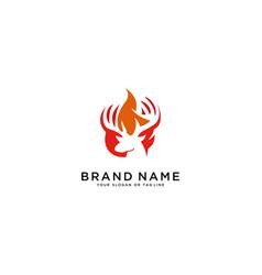 Logo a deer head and fire vector