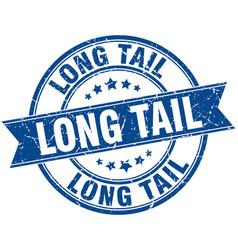 Long tail round grunge ribbon stamp vector