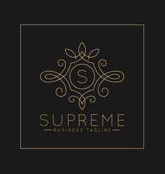 Luxurious letter s logo with classic line art vector