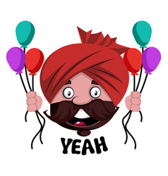 Man with turban is holding baloons on white vector