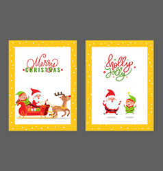 merry christmas cards with santa elf and deer vector image
