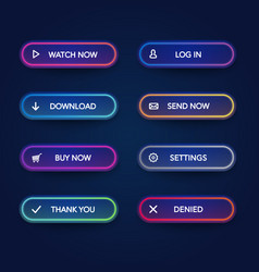 modern neon glowing buttons on dark rounded forms vector image