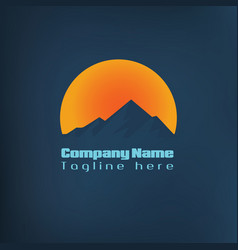 Mountain logo with moon light vector