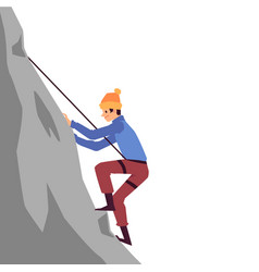 Mountaineering - climber conquering a peak flat vector
