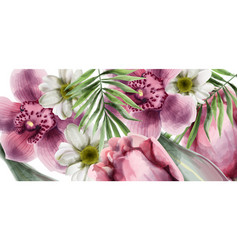 orchid flowers background card watercolor vector image