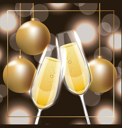 Pair of champagne glass cheers golden balls vector